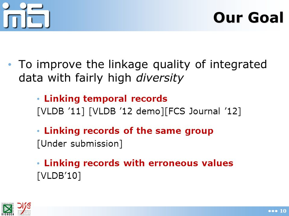 Our Goal To improve the linkage quality of integrated data with fairly high diversity Linking temporal records [VLDB '11] [VLDB '12 demo][FCS Journal '12] Linking records of the same group [Under submission] Linking records with erroneous values [VLDB'10] 10