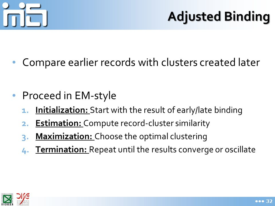 Adjusted Binding Compare earlier records with clusters created later Proceed in EM-style 1.Initialization: Start with the result of early/late binding 2.Estimation: Compute record-cluster similarity 3.Maximization: Choose the optimal clustering 4.Termination: Repeat until the results converge or oscillate 32