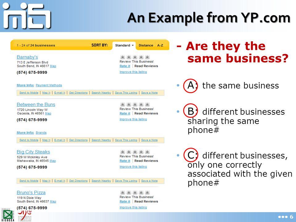 Example V (False Positive) SRC_IDSRCNAMEPHONE#ADDRESS 1 37973654VLTGeo Systems of Calif.