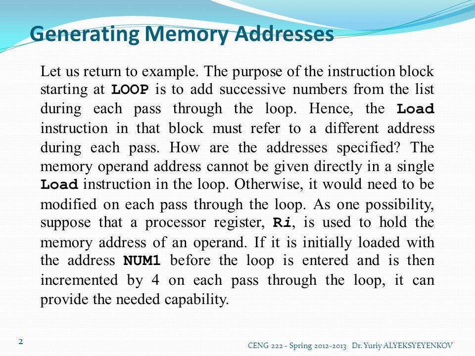 Generating Memory Addresses CENG 222 - Spring 2012-2013 Dr. Yuriy ALYEKSYEYENKOV 2 Let us return to example. The purpose of the instruction block star