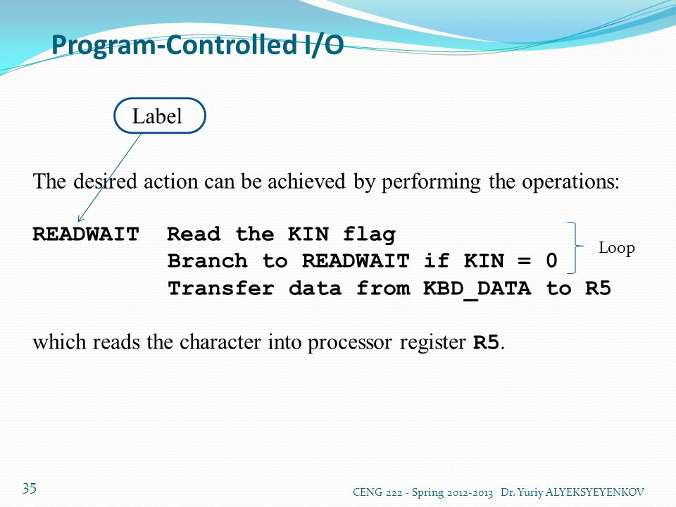 Program-Controlled I/O CENG 222 - Spring 2012-2013 Dr. Yuriy ALYEKSYEYENKOV 35 The desired action can be achieved by performing the operations: READWA