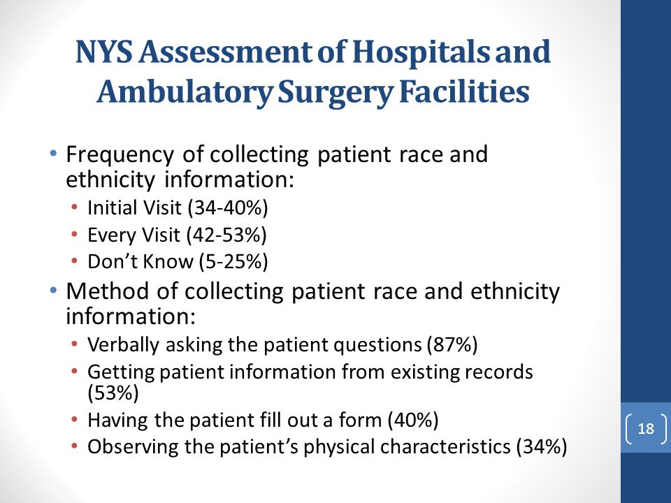 NYS Assessment of Hospitals and Ambulatory Surgery Facilities Frequency of collecting patient race and ethnicity information: Initial Visit (34-40%) E