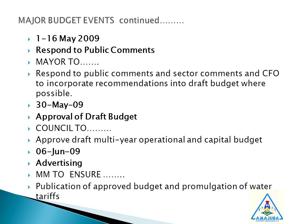  1-16 May 2009  Respond to Public Comments  MAYOR TO…….