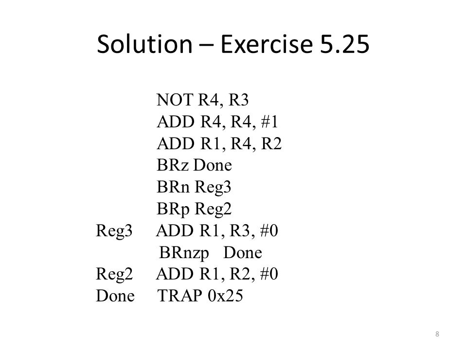 Solution – Exercise NOT R4, R3 ADD R4, R4, #1 ADD R1, R4, R2 BRz Done BRn Reg3 BRp Reg2 Reg3 ADD R1, R3, #0 BRnzp Done Reg2 ADD R1, R2, #0 Done TRAP 0x25