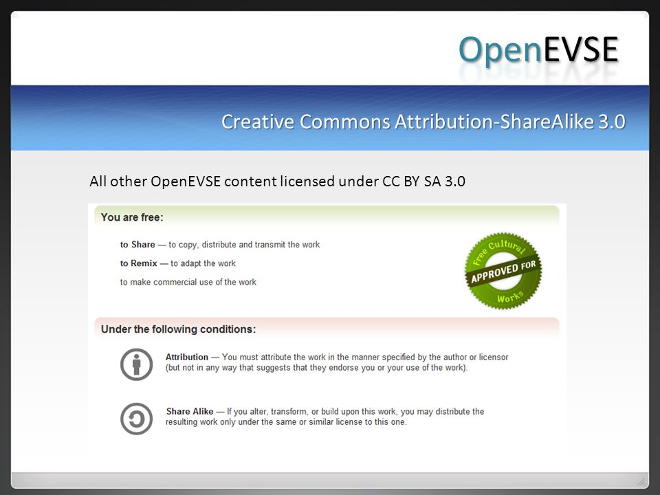 Creative Commons Attribution-ShareAlike 3.0 All other OpenEVSE content licensed under CC BY SA 3.0