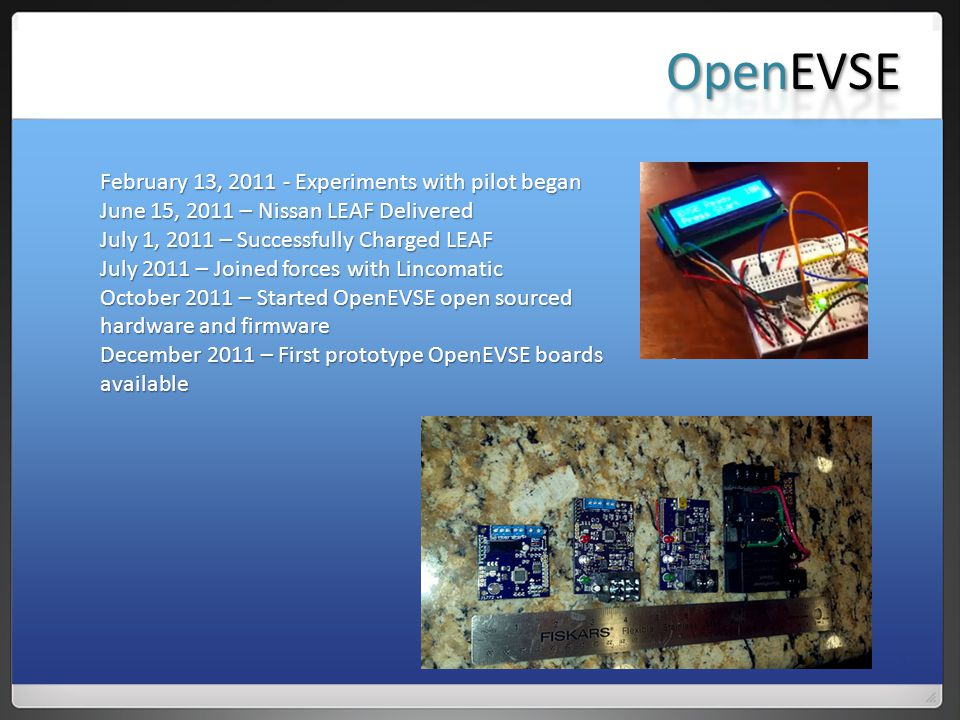 February 13, 2011 - Experiments with pilot began June 15, 2011 – Nissan LEAF Delivered July 1, 2011 – Successfully Charged LEAF July 2011 – Joined forces with Lincomatic October 2011 – Started OpenEVSE open sourced hardware and firmware December 2011 – First prototype OpenEVSE boards available