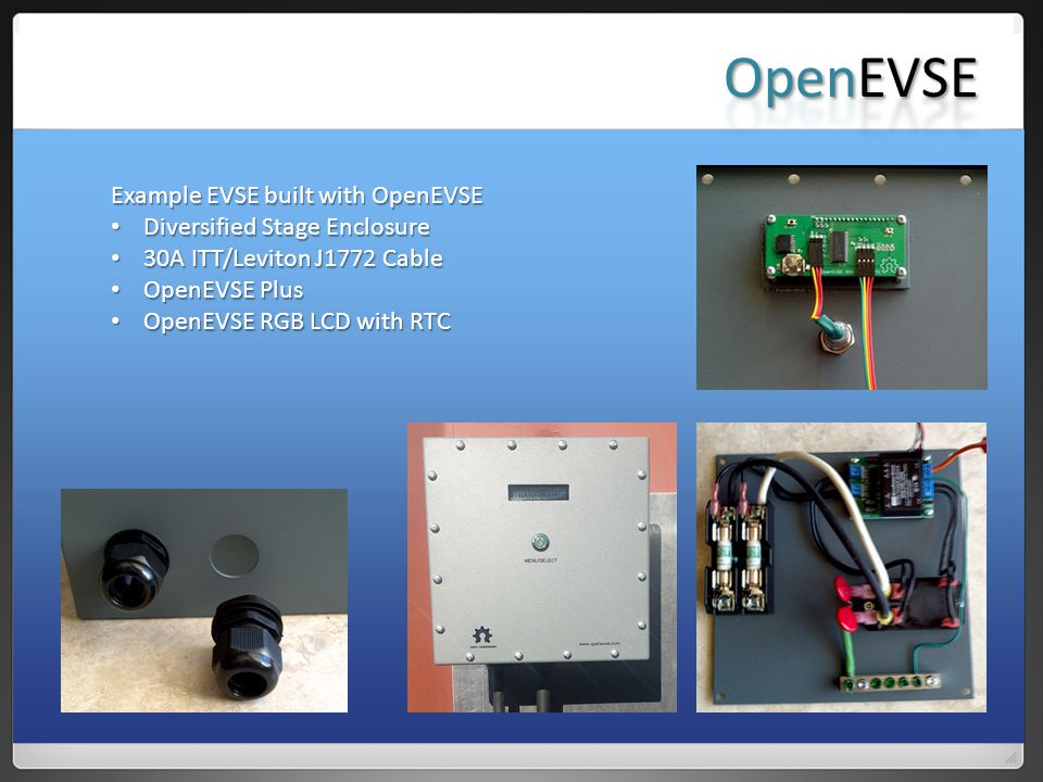 Example EVSE built with OpenEVSE Diversified Stage Enclosure Diversified Stage Enclosure 30A ITT/Leviton J1772 Cable 30A ITT/Leviton J1772 Cable OpenEVSE Plus OpenEVSE Plus OpenEVSE RGB LCD with RTC OpenEVSE RGB LCD with RTC