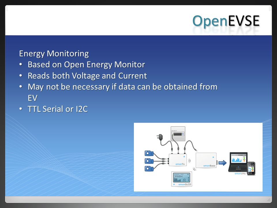 Energy Monitoring Based on Open Energy Monitor Based on Open Energy Monitor Reads both Voltage and Current Reads both Voltage and Current May not be necessary if data can be obtained from EV May not be necessary if data can be obtained from EV TTL Serial or I2C TTL Serial or I2C