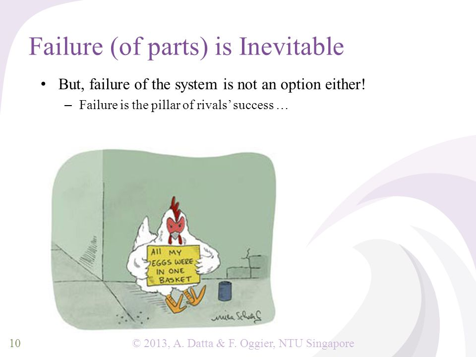 © 2013, A. Datta & F. Oggier, NTU Singapore Failure (of parts) is Inevitable But, failure of the system is not an option either! – Failure is the pill