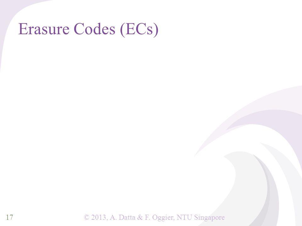 © 2013, A. Datta & F. Oggier, NTU Singapore Erasure Codes (ECs) 17