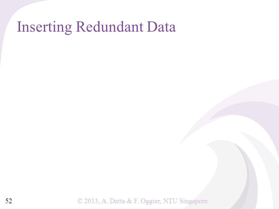 © 2013, A. Datta & F. Oggier, NTU Singapore Inserting Redundant Data 52
