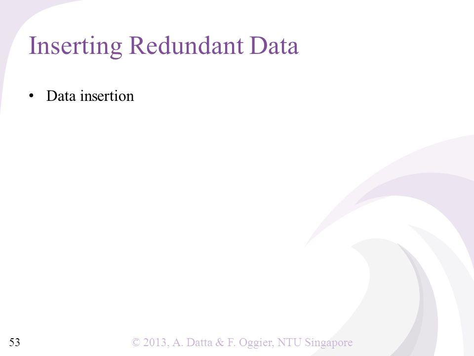 © 2013, A. Datta & F. Oggier, NTU Singapore Data insertion Inserting Redundant Data 53
