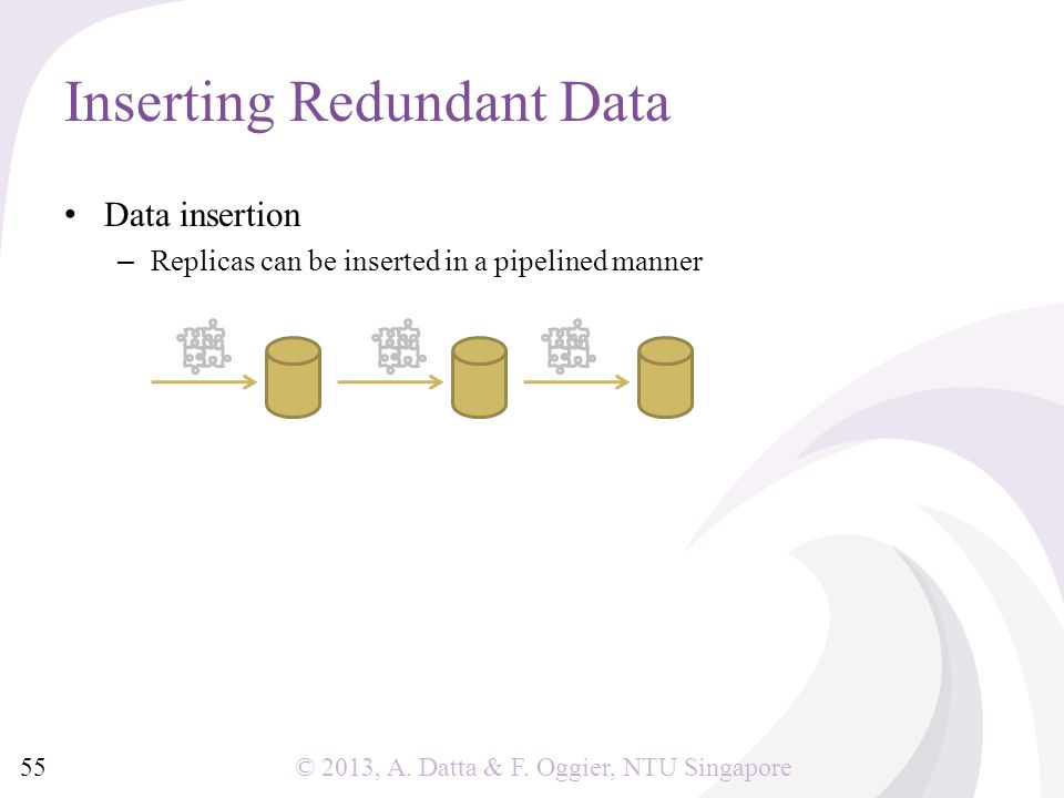 © 2013, A. Datta & F. Oggier, NTU Singapore Data insertion – Replicas can be inserted in a pipelined manner Inserting Redundant Data 55