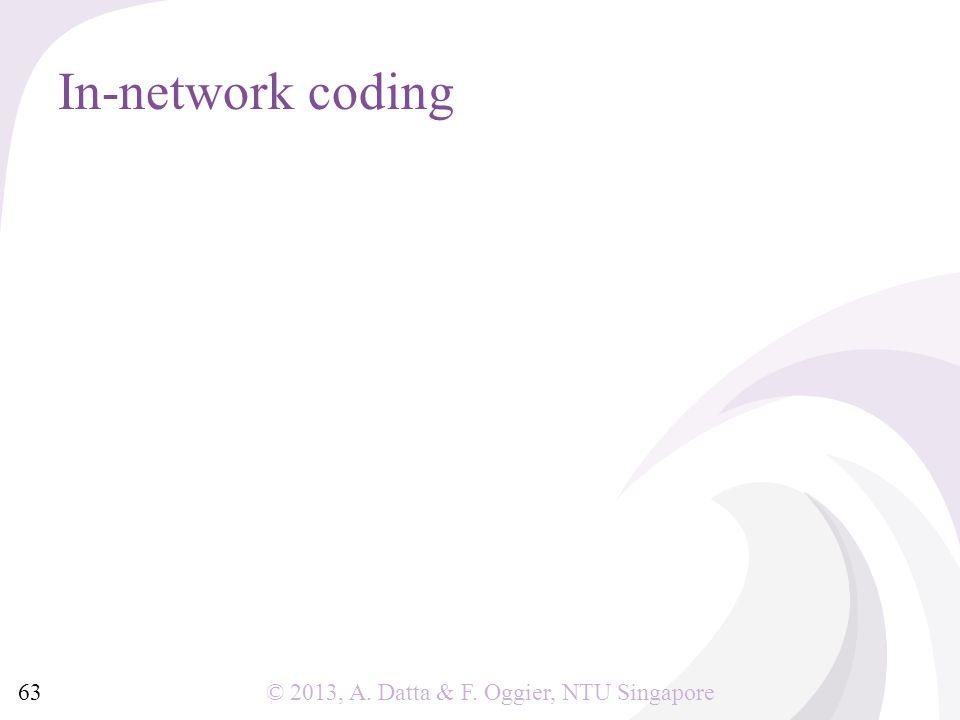 © 2013, A. Datta & F. Oggier, NTU Singapore In-network coding 63