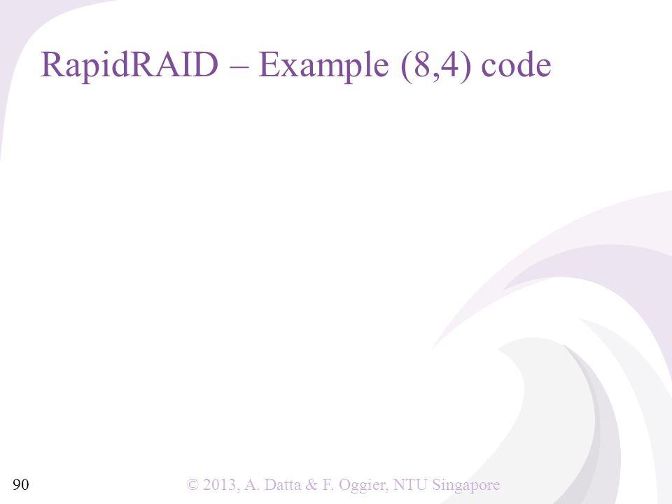 © 2013, A. Datta & F. Oggier, NTU Singapore RapidRAID – Example (8,4) code 90