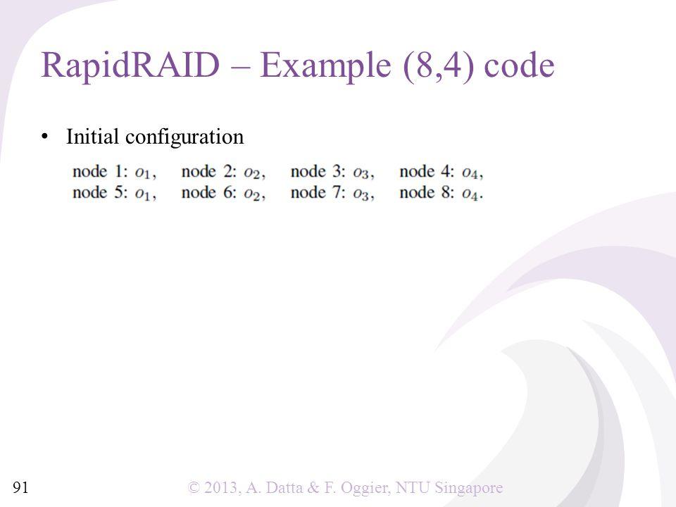 © 2013, A. Datta & F. Oggier, NTU Singapore Initial configuration RapidRAID – Example (8,4) code 91