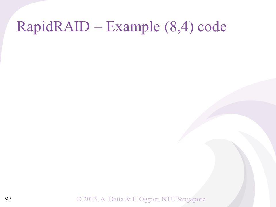 © 2013, A. Datta & F. Oggier, NTU Singapore RapidRAID – Example (8,4) code 93