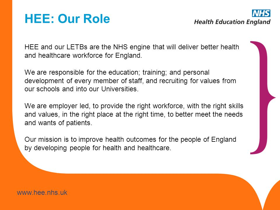 HEE: Our Role HEE and our LETBs are the NHS engine that will deliver better health and healthcare workforce for England.