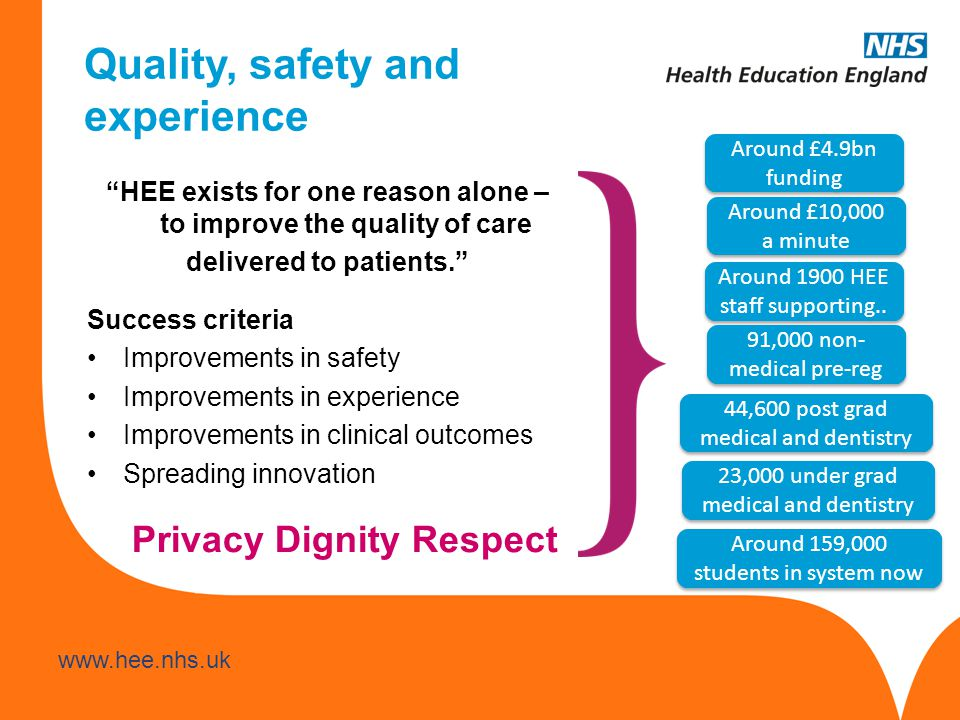 Quality, safety and experience HEE exists for one reason alone – to improve the quality of care delivered to patients. Success criteria Improvements in safety Improvements in experience Improvements in clinical outcomes Spreading innovation Around £4.9bn funding Around £10,000 a minute Around 1900 HEE staff supporting..