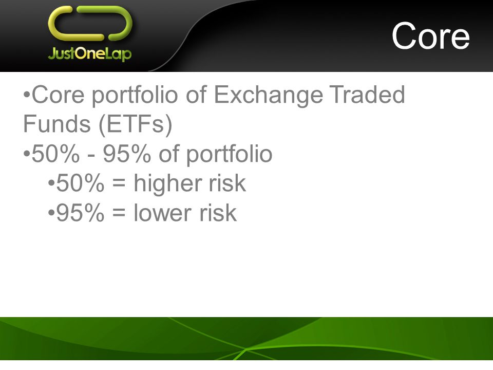 Core Core portfolio of Exchange Traded Funds (ETFs) 50% - 95% of portfolio 50% = higher risk 95% = lower risk