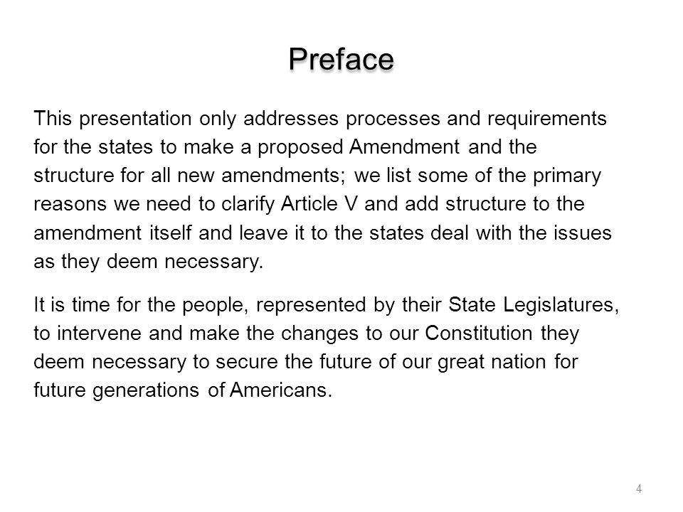 Proposed Constitution Amendment 1 ---------------BEGIN--------------- The sole purpose is clarifying the process defined in Article V of the Constitution for State Legislatures use to draft Proposed Amendments to the Constitution of the United States of America without involvement the government empowered by the people September 17, 1787 and to keep Congress out of the ratification process.