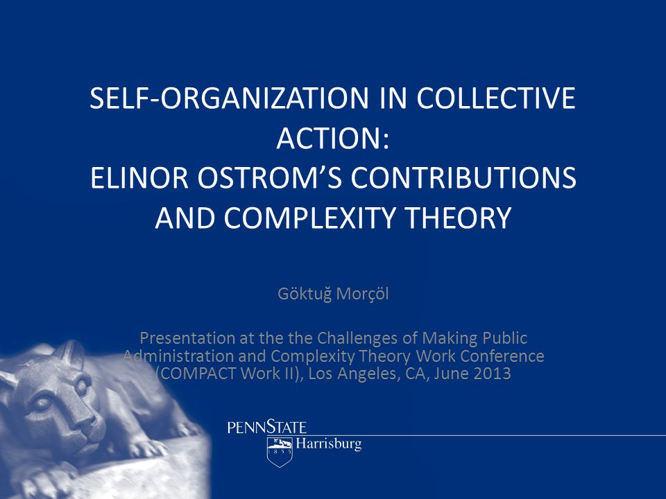 SELF-ORGANIZATION IN COLLECTIVE ACTION: ELINOR OSTROM'S CONTRIBUTIONS AND COMPLEXITY THEORY Göktuğ Morçöl Presentation at the the Challenges of Making