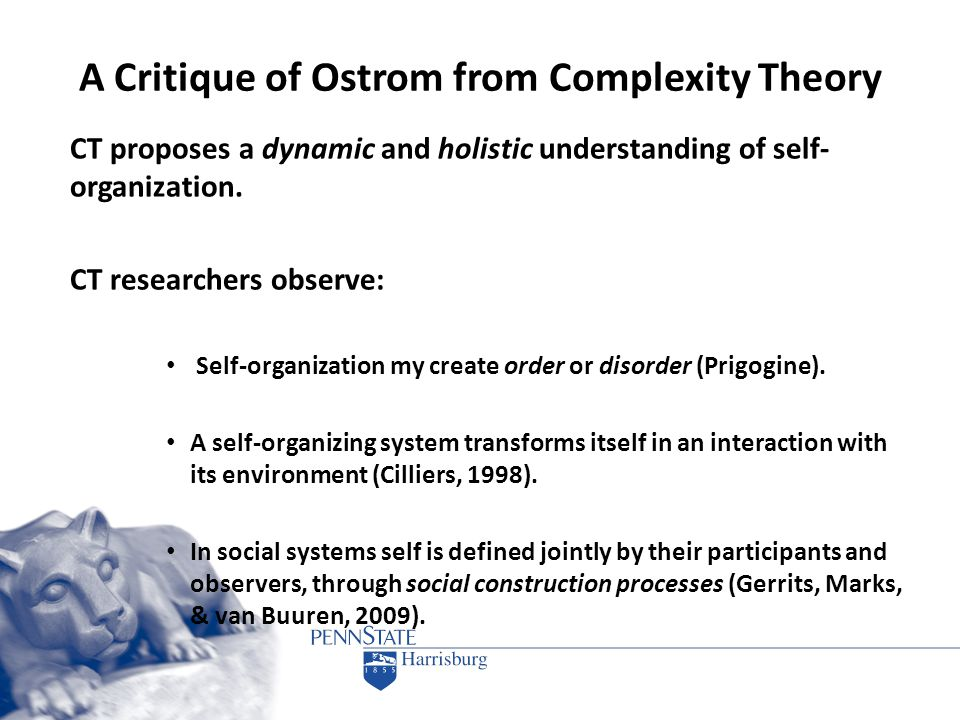 A Critique of Ostrom from Complexity Theory CT proposes a dynamic and holistic understanding of self- organization. CT researchers observe: Self-organ