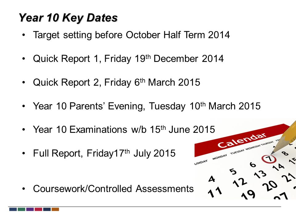Year 10 Key Dates Target setting before October Half Term 2014 Quick Report 1, Friday 19 th December 2014 Quick Report 2, Friday 6 th March 2015 Year 10 Parents' Evening, Tuesday 10 th March 2015 Year 10 Examinations w/b 15 th June 2015 Full Report, Friday17 th July 2015 Coursework/Controlled Assessments