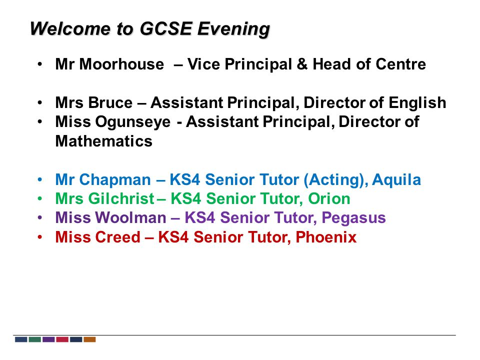 Welcome to GCSE Evening Mr Moorhouse – Vice Principal & Head of Centre Mrs Bruce – Assistant Principal, Director of English Miss Ogunseye - Assistant Principal, Director of Mathematics Mr Chapman – KS4 Senior Tutor (Acting), Aquila Mrs Gilchrist – KS4 Senior Tutor, Orion Miss Woolman – KS4 Senior Tutor, Pegasus Miss Creed – KS4 Senior Tutor, Phoenix