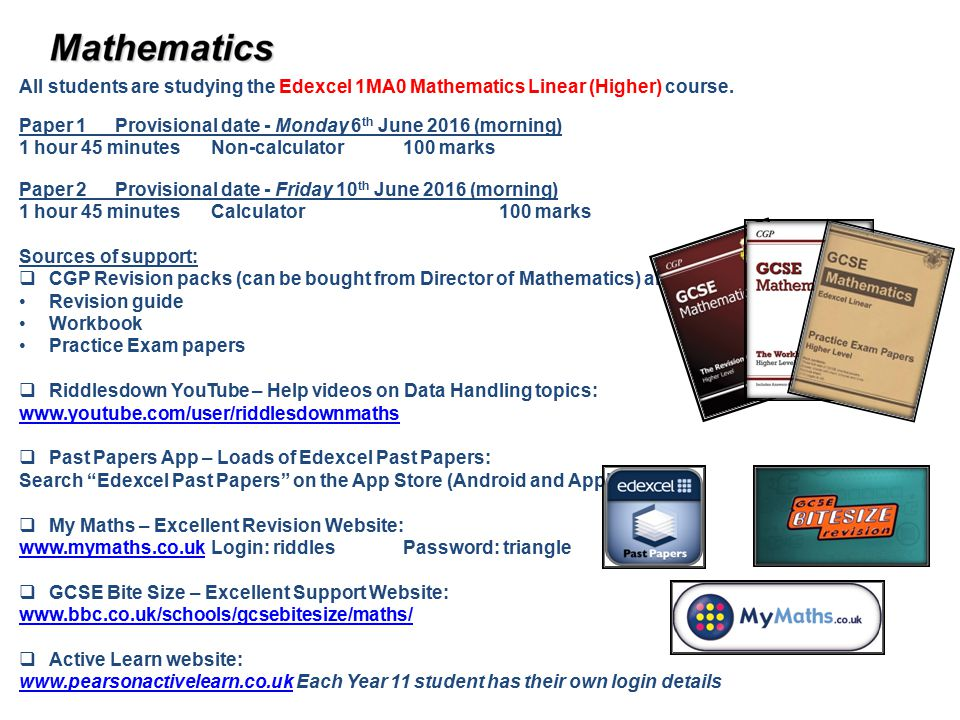 All students are studying the Edexcel 1MA0 Mathematics Linear (Higher) course.