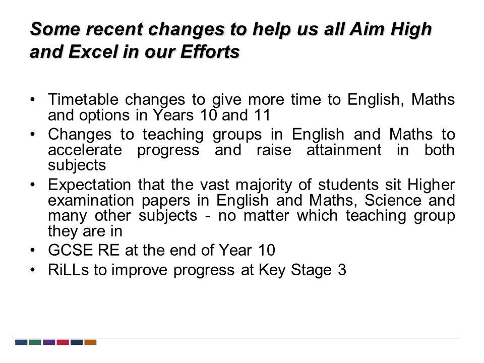 Some recent changes to help us all Aim High and Excel in our Efforts Timetable changes to give more time to English, Maths and options in Years 10 and 11 Changes to teaching groups in English and Maths to accelerate progress and raise attainment in both subjects Expectation that the vast majority of students sit Higher examination papers in English and Maths, Science and many other subjects - no matter which teaching group they are in GCSE RE at the end of Year 10 RiLLs to improve progress at Key Stage 3