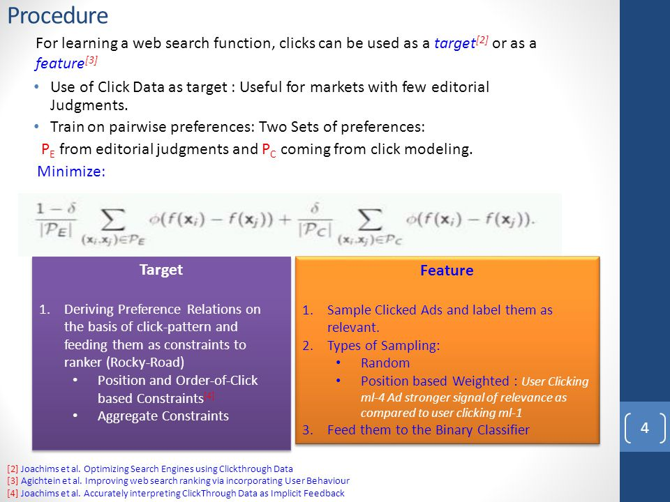 Procedure Use of Click Data as target : Useful for markets with few editorial Judgments.