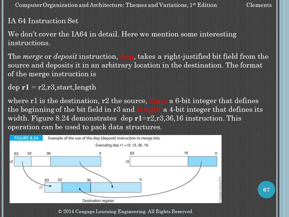 © 2014 Cengage Learning Engineering. All Rights Reserved. 67 Computer Organization and Architecture: Themes and Variations, 1 st Edition Clements IA 6