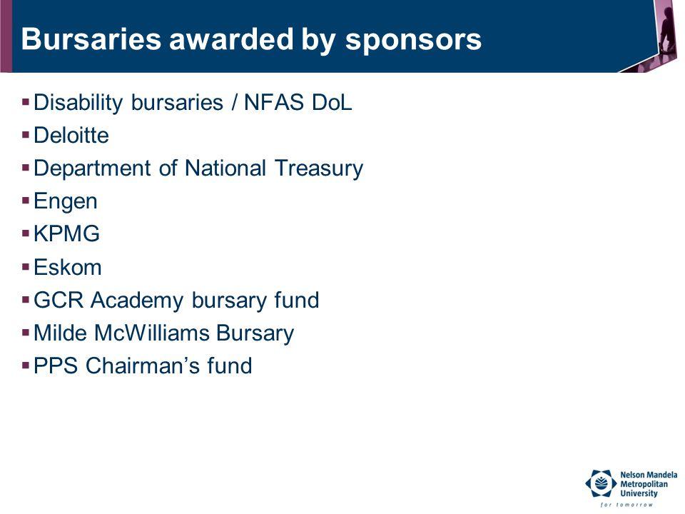 Bursaries awarded by sponsors  Disability bursaries / NFAS DoL  Deloitte  Department of National Treasury  Engen  KPMG  Eskom  GCR Academy burs