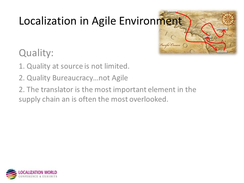 Localization in Agile Environment Quality: 1.Quality at source is not limited.