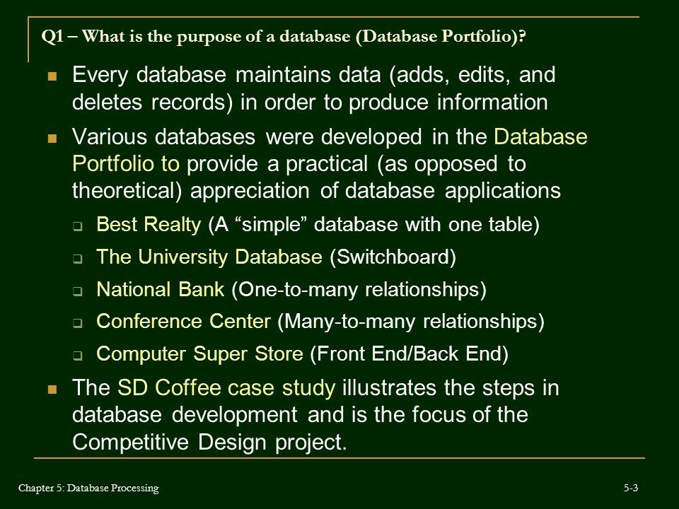 Q5 – How are data models used for database development (ERD).