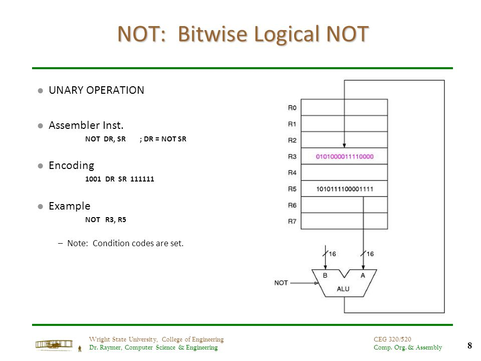 8 Wright State University, College of Engineering Dr. Raymer, Computer Science & Engineering CEG 320/520 Comp. Org. & Assembly NOT: Bitwise Logical NO