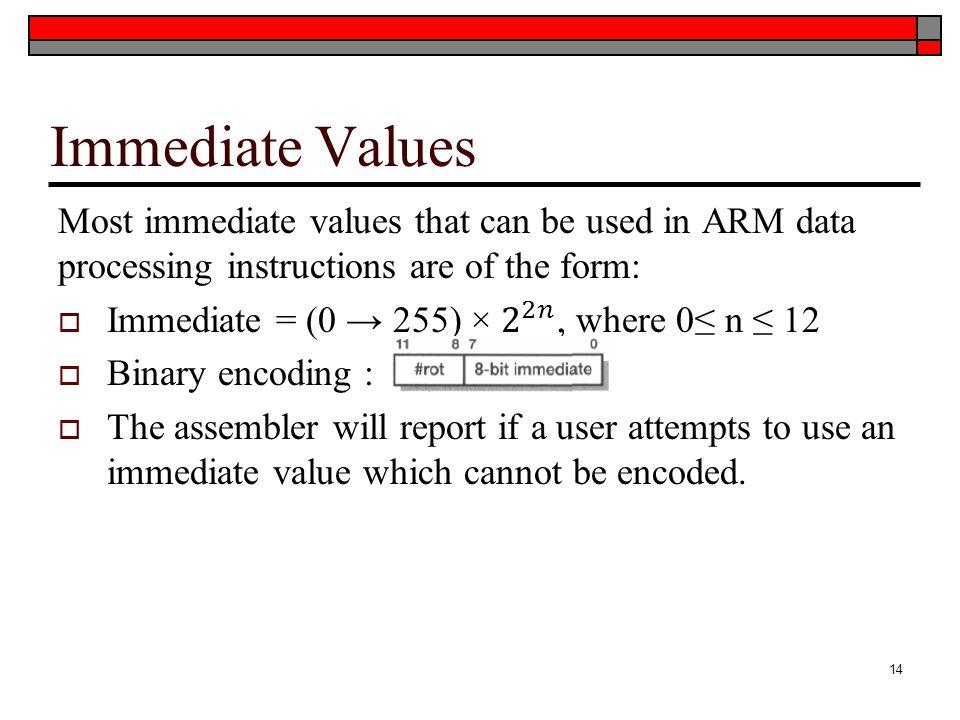 Immediate Values 14
