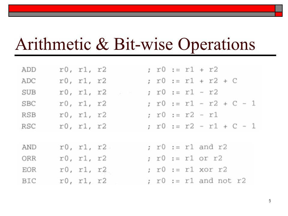 Arithmetic & Bit-wise Operations 5