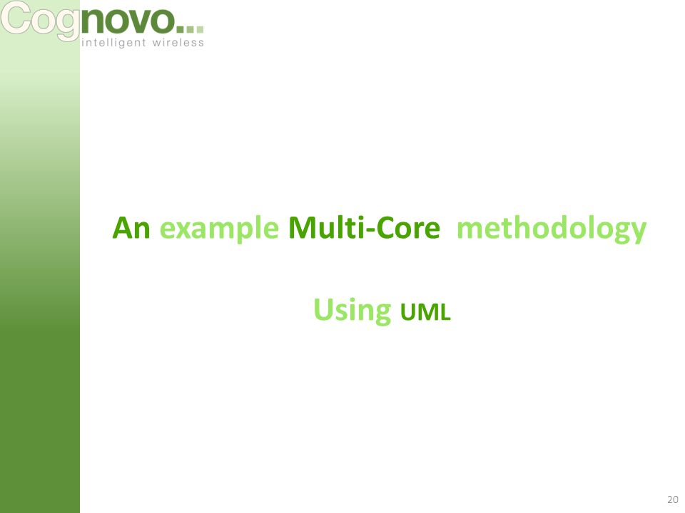 20 An example Multi-Core methodology Using UML