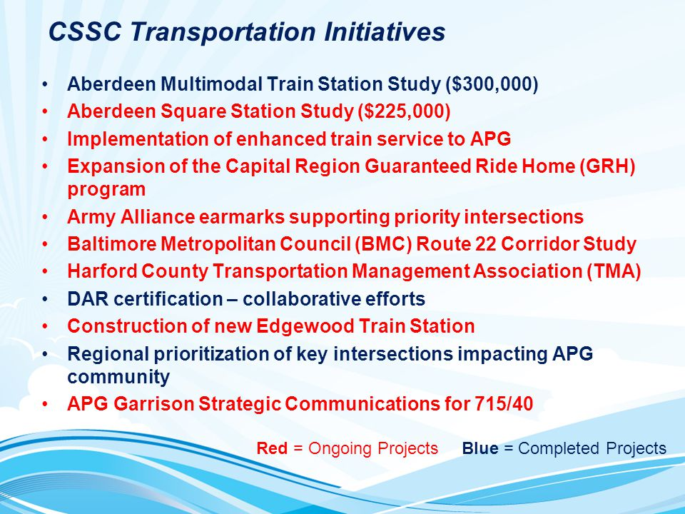 CSSC Transportation Initiatives Aberdeen Multimodal Train Station Study ($300,000) Aberdeen Square Station Study ($225,000) Implementation of enhanced train service to APG Expansion of the Capital Region Guaranteed Ride Home (GRH) program Army Alliance earmarks supporting priority intersections Baltimore Metropolitan Council (BMC) Route 22 Corridor Study Harford County Transportation Management Association (TMA) DAR certification – collaborative efforts Construction of new Edgewood Train Station Regional prioritization of key intersections impacting APG community APG Garrison Strategic Communications for 715/40 Red = Ongoing ProjectsBlue = Completed Projects