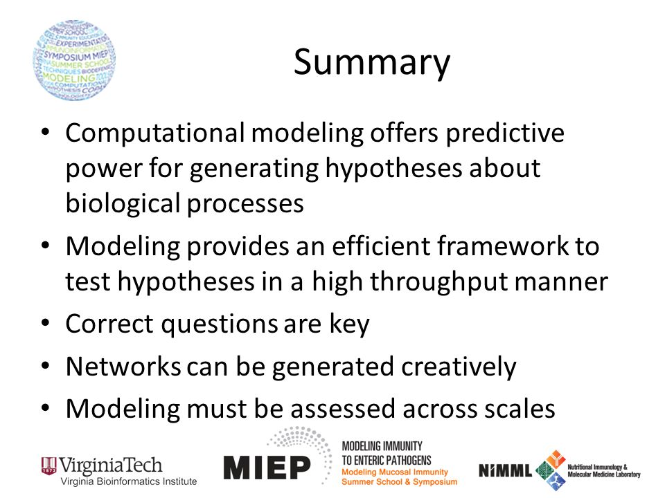 Summary Computational modeling offers predictive power for generating hypotheses about biological processes Modeling provides an efficient framework to test hypotheses in a high throughput manner Correct questions are key Networks can be generated creatively Modeling must be assessed across scales