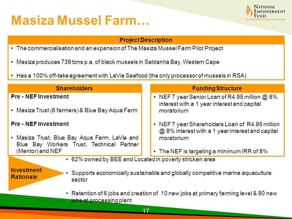 The commercialisation and an expansion of The Masiza Mussel Farm Pilot Project Masiza produces 739 tons p.a.