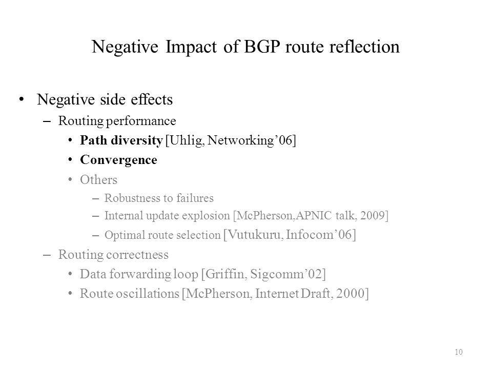 Negative Impact of BGP route reflection Negative side effects – Routing performance Path diversity [Uhlig, Networking'06] Convergence Others – Robustn