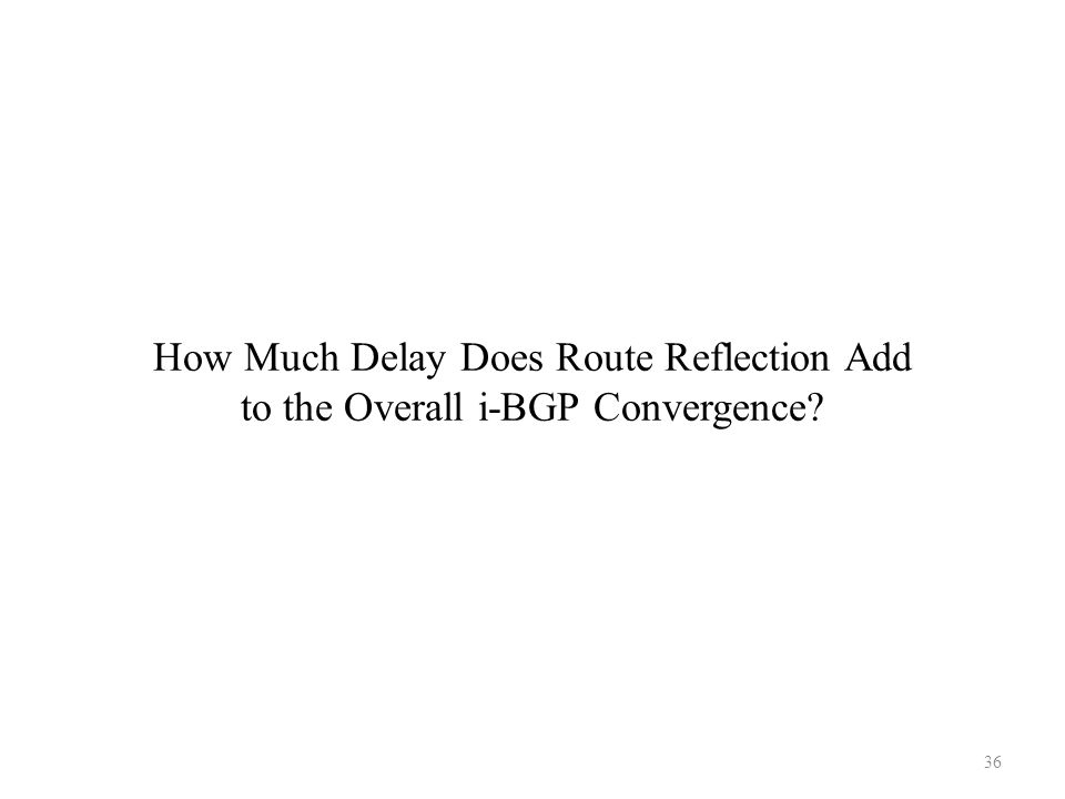 How Much Delay Does Route Reflection Add to the Overall i-BGP Convergence? 36