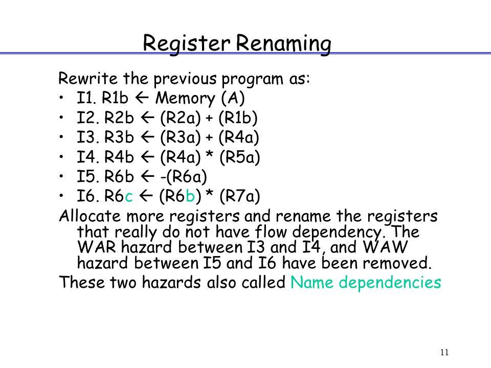 11 Register Renaming Rewrite the previous program as: I1.