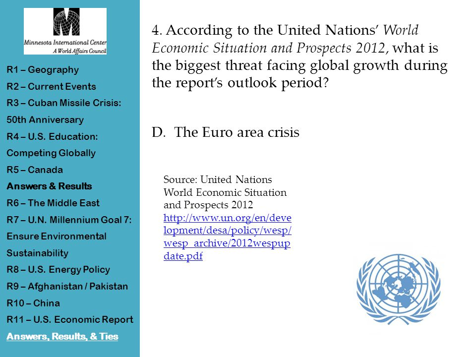 4. According to the United Nations' World Economic Situation and Prospects 2012, what is the biggest threat facing global growth during the report's o