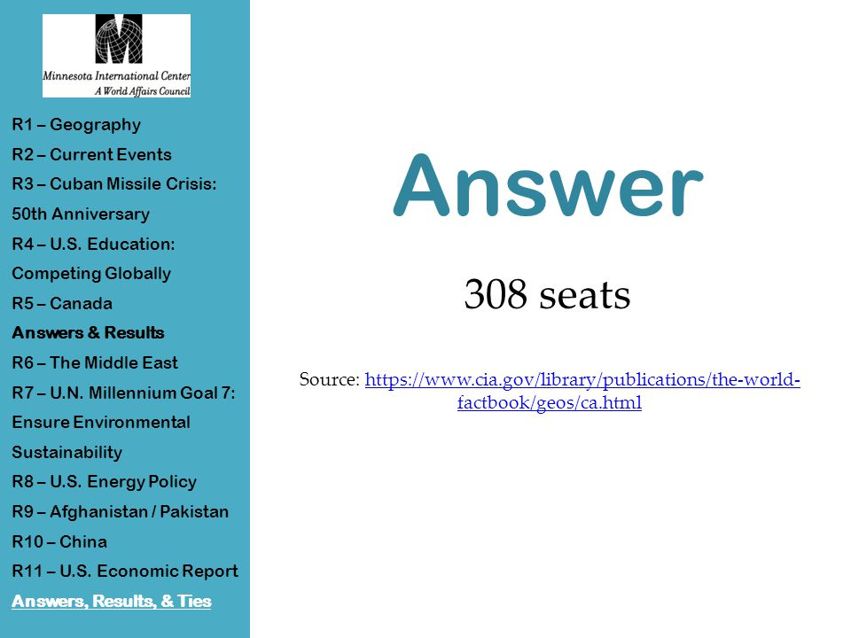 Answer 308 seats Source: https://www.cia.gov/library/publications/the-world- factbook/geos/ca.htmlhttps://www.cia.gov/library/publications/the-world- factbook/geos/ca.html R1 – Geography R2 – Current Events R3 – Cuban Missile Crisis: 50th Anniversary R4 – U.S.