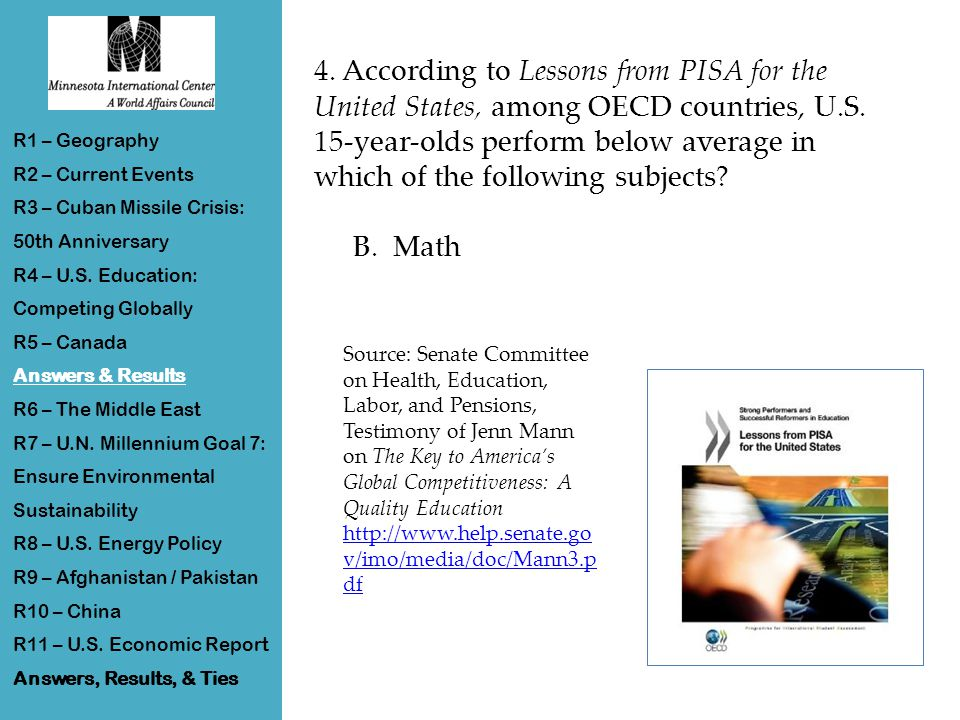 4. According to Lessons from PISA for the United States, among OECD countries, U.S.