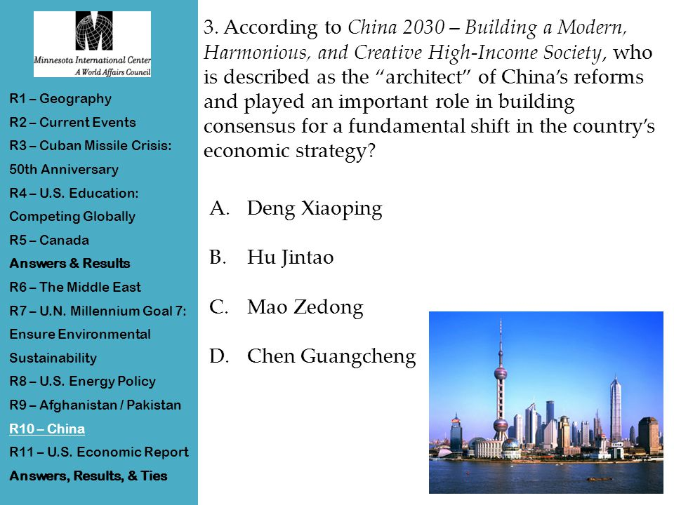 """3. According to China 2030 – Building a Modern, Harmonious, and Creative High-Income Society, who is described as the """"architect"""" of China's reforms a"""